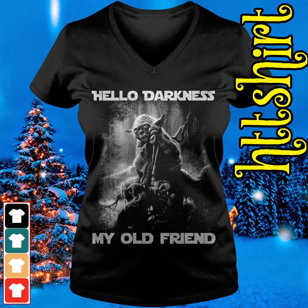 Master Yoda hello darkness my old friend V-neck t-shirt