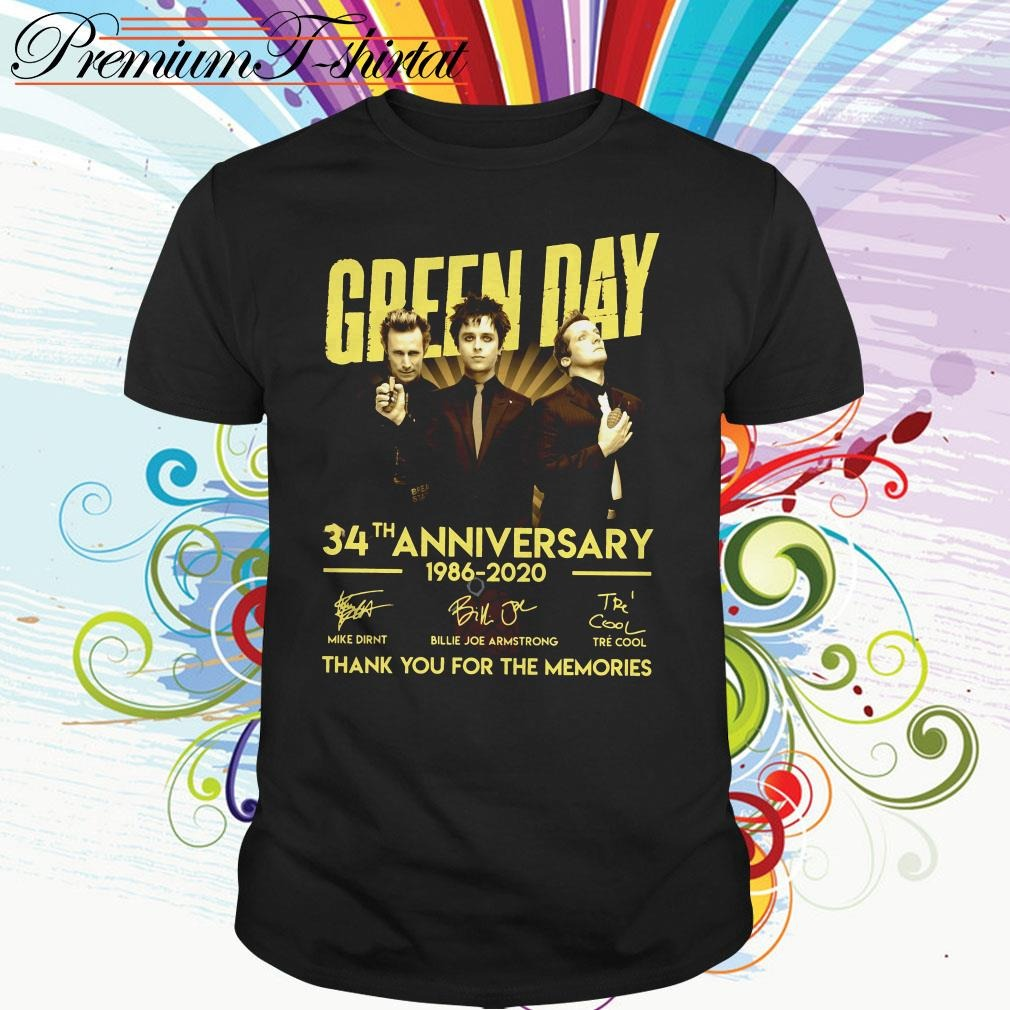 Green Day 34th anniversary 1986-2020 thank you for the memories shirt