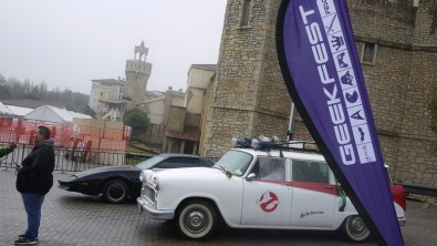 Ecto-1 and KIT are on display at the entrance.