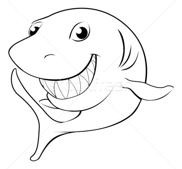 Boldog · rajz · cápa · fekete · fehér · mosoly