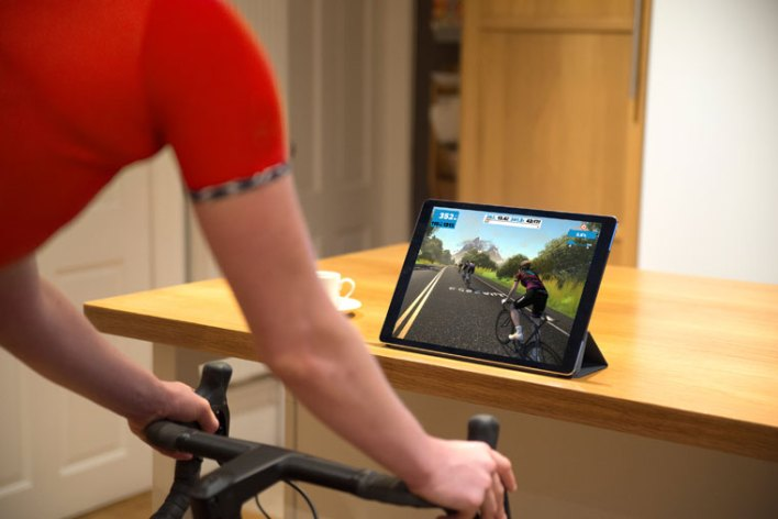 Zwift on a turbo trainer