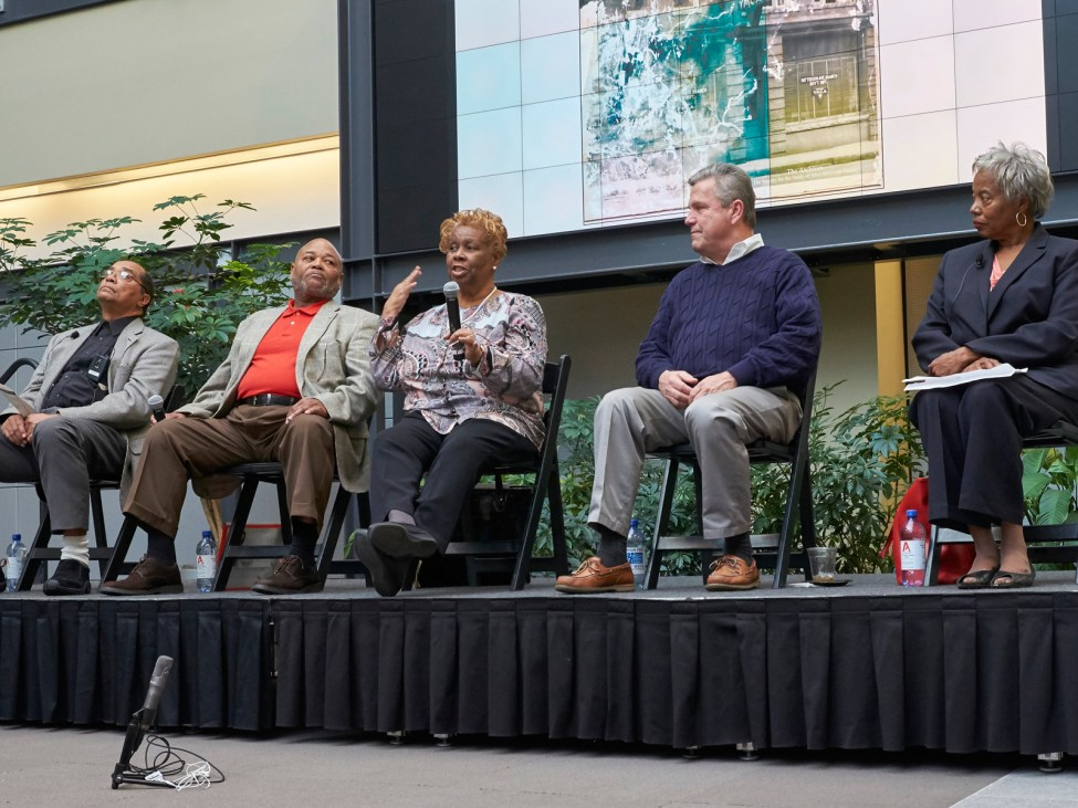 "Barbara Morris shares her perspective as a former resident of the Belews Street neighborhood as a panelist at ""Remembering the Neighborhood."""