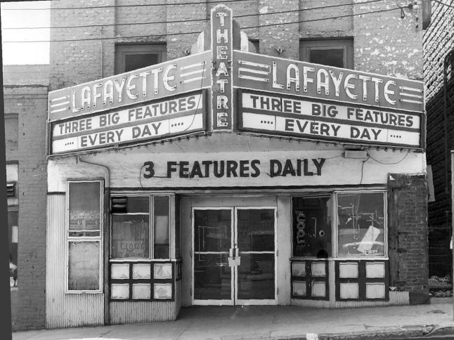 The Lafayette Theater was a black-owned business on Fourth St., one block away from the current Wake Forest Biotech Place. Photo Credit: Linda Dark and Family