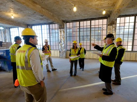 Senior Wake Forest University administrators and Board of Trustee members tour the site.