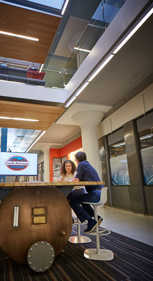Much like the Innovation Quarter, the Venture Café space in St. Louis preserves the buildings' history.