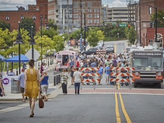 During the warm months, professionals gather for Winston Under 40 Food Truck Friday