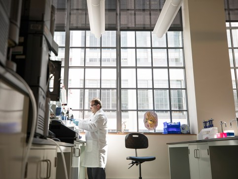 Jason Gagliano works in the Molecular and Analytic Training Lab located in Forsyth Tech at Innovation Quarter