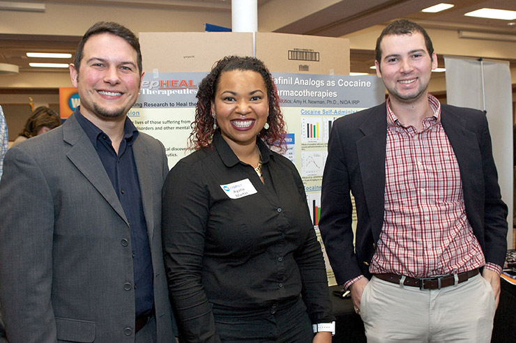Rahimi (left), Martin (center) and Lazarus (right) presenting their company at a Winston-Salem Tech Briefing in 2016