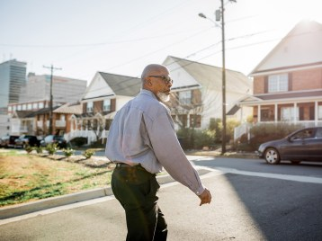 One of Goler CDC's first development projects was to build homes in downtown that could be owned rather than rented (pictured behind Suggs).