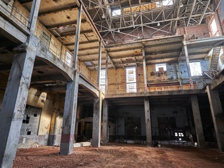 Before construction, all five floors were exposed.