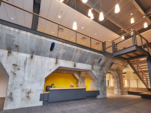 These concrete arches are now the prominent feature of the reception area.