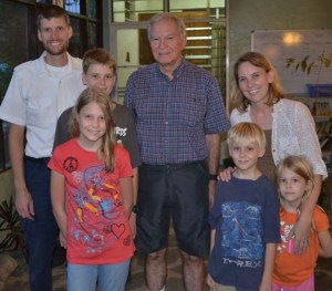 The Holsten family with missionary and Peace Child author, Don Richardson.