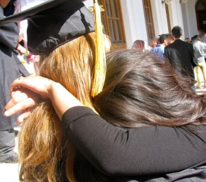 Our daughter says a tearful goodbye to a long-time local friend at graduation