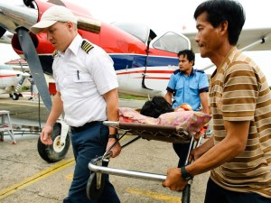 A medical evacuation with the MAF KODIAK airplane in Kalimantan, Indonesia.