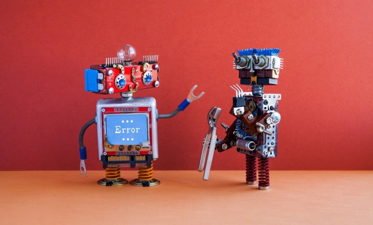 Robotic maintenance repair fix concept.