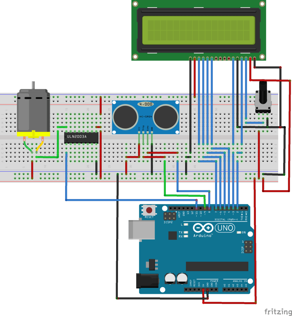 medium resolution of the circuit is self explanatory the trigger and echo pins of the ultrasonic sensor are connected to pins 9 and 8 of the arduino respectively