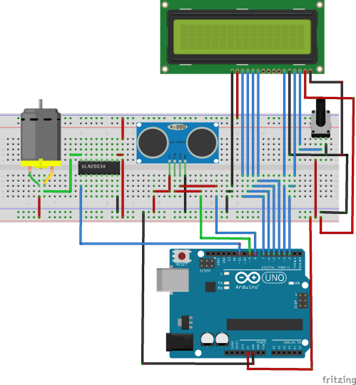 small resolution of the circuit is self explanatory the trigger and echo pins of the ultrasonic sensor are connected to pins 9 and 8 of the arduino respectively