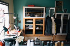 Katharine's lovely little studio in Ballard where she makes all her apparel products by hand.