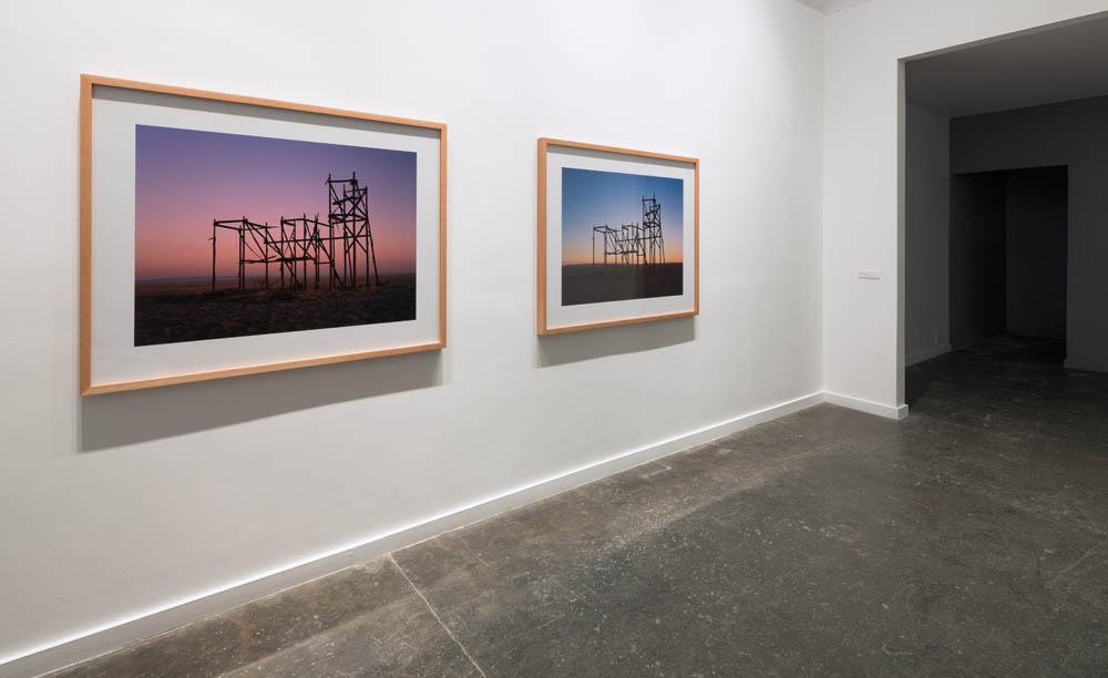 Installation view, Sunrise Filmset Sunset 2012.Sound Speed Marker, Ballroom Marfa, 2014. Photo: Frederik Nilsen