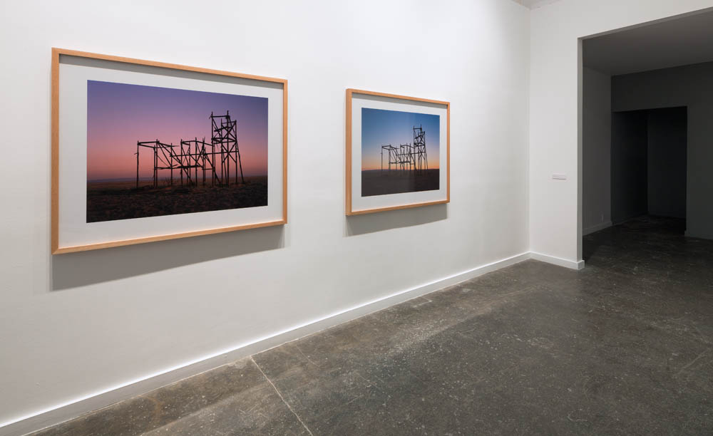 Installation view, Sunrise Filmset Sunset 2012.Sound Speed Marker, Ballroom Marfa, 2014. Photo: Frederik Nilsen