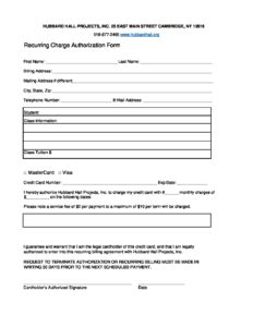 You will be charged the amount. Recurring Payment Authorization Form Hubbard Hall
