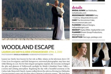 Angela Hubbard photographer of celebrity Lauren Lee Smith (this world, CSI) wedding for Wedding Bells magazine Vancouver