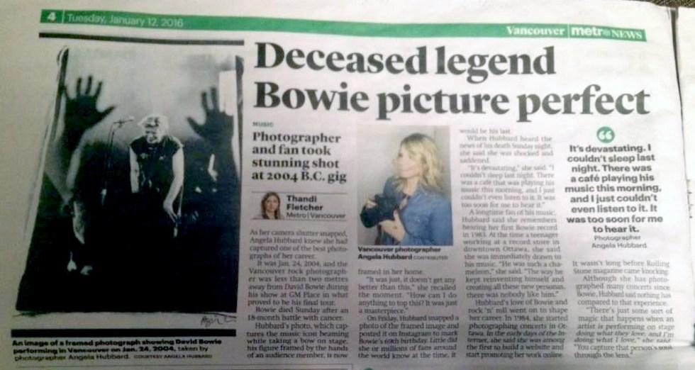 Metro News Angela Hubbard David Bowie
