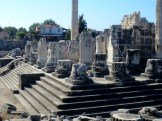 Temple of Apollo at Didyma, Turkey. Note the size of the people at the far end of the stairway.