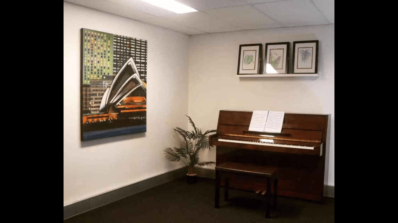 Private practice room with a Yamaha upright piano. Suitable for practice, rehearsal, lesson, recording.