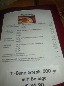 Und noch ein Bilder Speisekarte, hier mit dem Steakangebot