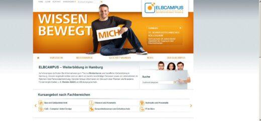 Screenshot der Homesite des ELBCAMPUS HH