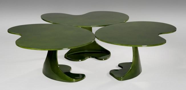 Table Nénuphar Laquée Verte