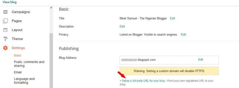 Edit publishing settings on blogger blog