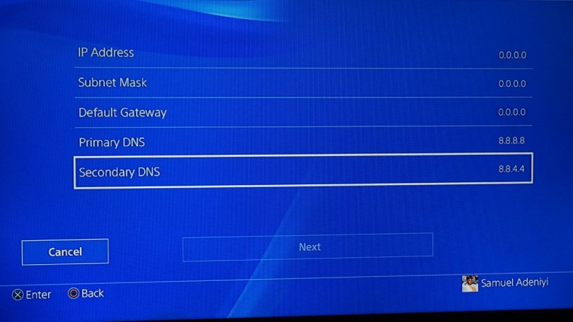 Google DNS in PS4 console network settings