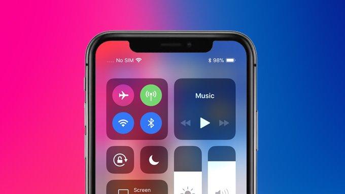 iphone xs battery percentage displayed in status bar