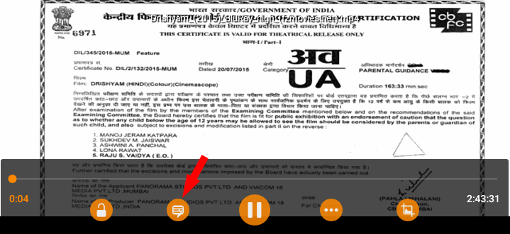 Select subtitle icon on VLC media player to get English subtitle for Indian movie