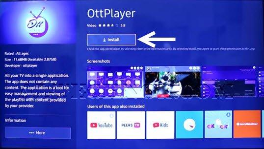 OttPlayer IPTV for windows PC