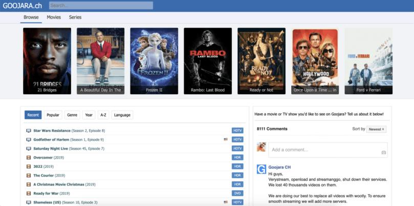 Goojara categorized content