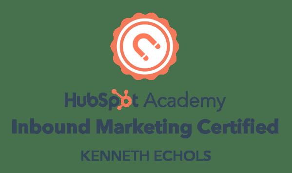 Hubspot Certification Badge for Kenneth Echols