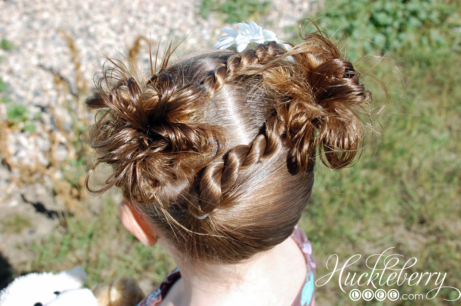 Two Rope Braids With Two Messy Buns Hairdo Huckleberry Life