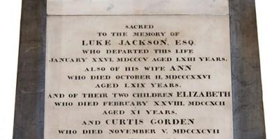 Wall memorial in memory of Luke, Ann, Elizabeth and Curtis Jackson