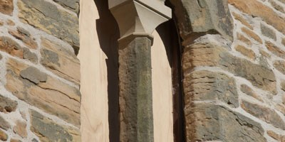 Close up of repaired stonework to south face tower window