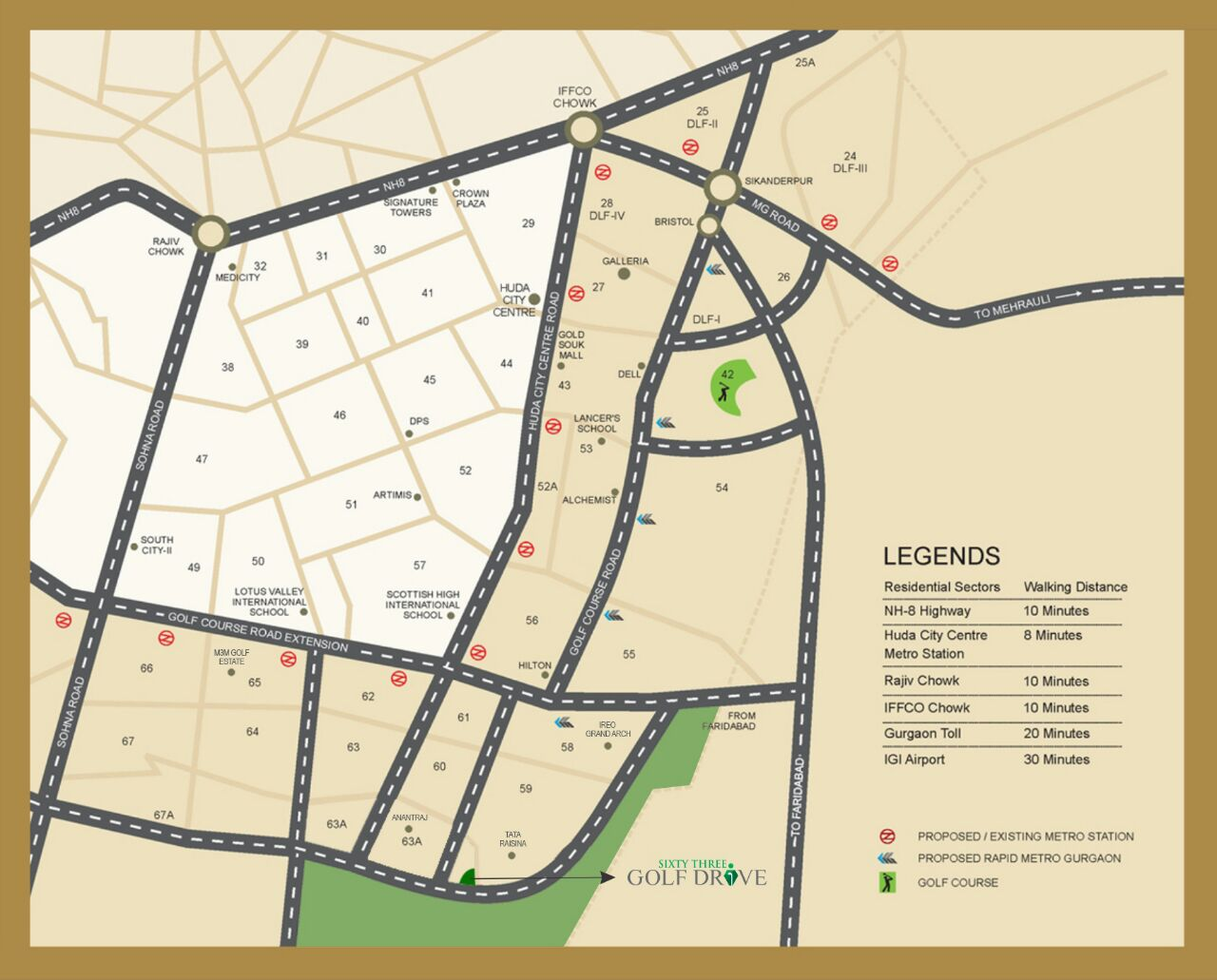 63 Golf Drive Gurgaon-location-map