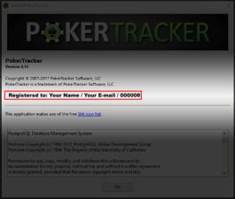 PokerTracker registration - Information Window.