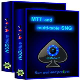 HUDblue T, MTT HUD and HUDblue CS, 6-Max Cash HUD, box illustration.