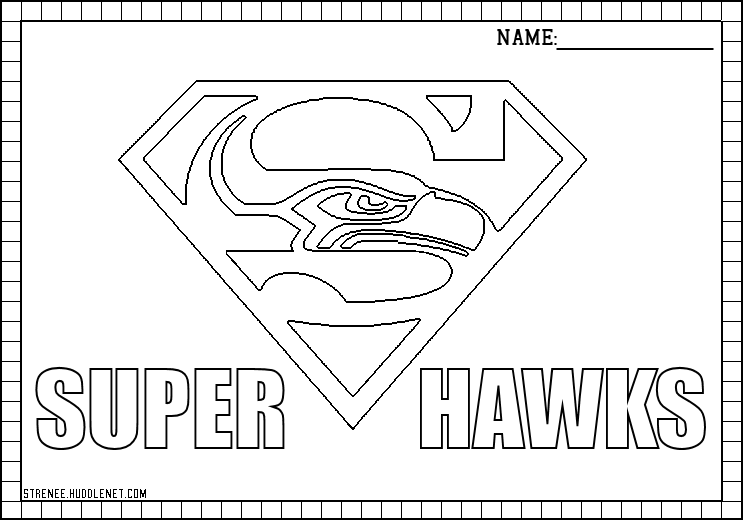 seattle seahawks logo stencil printable sketch coloring page