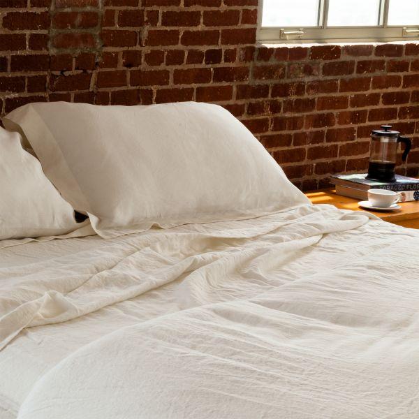 ivory linen pillow sham pair