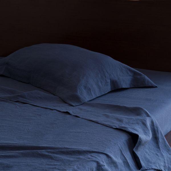 navy blue indigo pure italian linen pillow sham pair