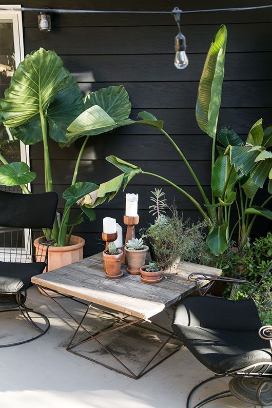 Back yard patio with a painted black wall
