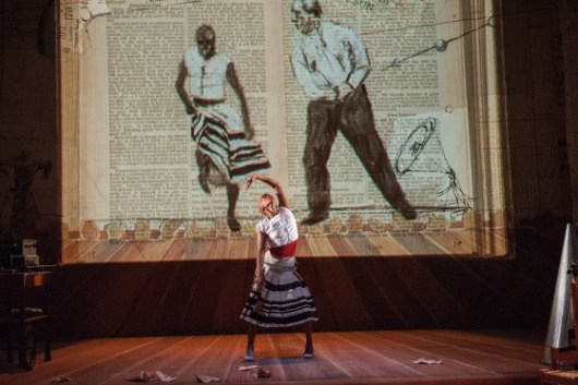 """A scene from William Kentridge's opera, Refuse the Hour"""" with music composed by Philip Miller, at the Brooklyn Academy of Music Harvey Theater on October 201 2015. Performers: William Kentridge Dada Masilo_dancer- bald woman Ann Masina_Vocalist_large woman-opera Joanna Dudley_dark hair bowl cut woman Thato Motlhaolwa_actor_black man Philip Miller_on melodica Thobeka Thukane_on squeezebox Photo Credit: ©Stephanie Berger."""